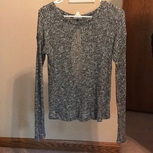 Open back, long sleeve sweater